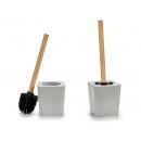 gray square toilet brush bamboo