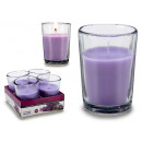 set of 4 lavender glass candles 6h
