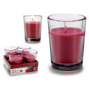set of 4 candles glass red fruits 6h