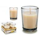 grossiste Verres: set de 4 bougies vanille en verre 6h
