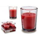 set of 4 glass apple cinnamon candles 6h