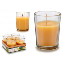 set of 4 candles glass handle 6h