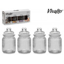 wholesale Decoration: set of 4 glass jars 300ml
