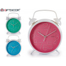 bell clock 25 cm colors 3 times assorted clear