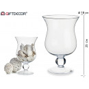 glass cup with foot and ball