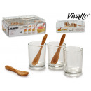 set of 3 crystal glasses 3 bamboo spoons