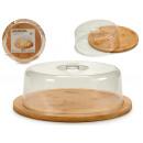 Großhandel Haushaltswaren: Rundes Käseglas aus Bambus mit Deckel