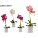 wholesale Artificial Flowers: 51cm round white pot orchid assorted 4c