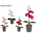 wholesale Artificial Flowers: small gray round flowerpot orchid assorted 4cl