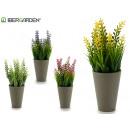 wholesale Artificial Flowers: flower pot gray elongated, colors 4 times assorted