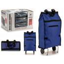 shopping bag with folding wheels blue