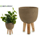 wholesale Garden & DIY store: cement pot paws gray wood large oval