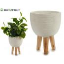 flower pot cement legs wood blah medium oval
