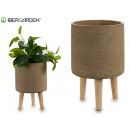 flowerpot cement legs wood gray redon big