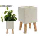 flowerpot cement legs wood square medium