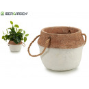 wholesale Garden & DIY store: flower pot cement white medium handle short