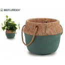 flowerpot cement large green short handle
