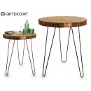 wooden table steel legs diam58 h70cm