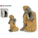 wholesale Figures & Sculptures: Buddha resin resting earth / silver