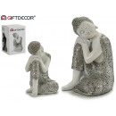 wholesale Figures & Sculptures: Buddha resin resting white / silver