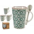 ingrosso Casalinghi & Cucina: boccale tazza + cucchiaio bianco, 4 modelli assort