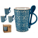 jarra mug + cuchara azul, modelos 4 veces surtido