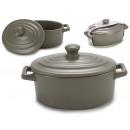 grossiste Maison et cuisine: Cocotte à couvercle ovale gris mat