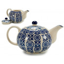 blue decorated teapot
