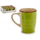 wholesale Houseware: cup breakfast stoneware green edge
