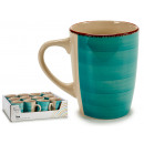 cup breakfast stoneware turquoise edge