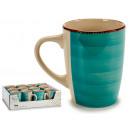 grossiste Tasses & Mugs: tasse petit déjeuner en grès bord turquoise