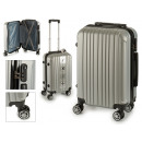 suitcase cabin abs silver vertical stripes