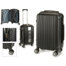 suitcase cabin abs black vertical stripes