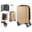 suitcase cabin abs gold horizontal stripes