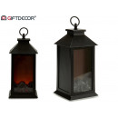 lantern fireplace 3 leds black