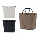 wholesale Laundry: rattan basket with handles, 3 times assorted color