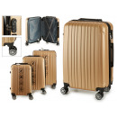 set of 3 suitcases abs gold stripes vertical