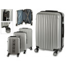 wholesale Bags & Travel accessories: set of 3 suitcases abs silver stripes vertical
