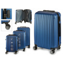 set of 3 suitcases abs blue vertical stripes