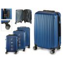 Großhandel Taschen & Reiseartikel: Set mit 3 Koffern mit blauen vertikalen Streifen