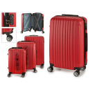 set of 3 suitcases abs red stripes vertical