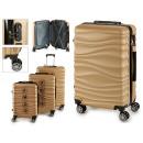 set of 3 suitcases abs gold waves