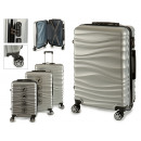 set of 3 suitcases abs silver waves