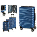 set of 3 suitcases abs blue waves