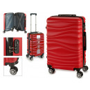 set of 3 suitcases abs red waves