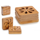 set of 6 square bamboo coasters, 3 times s