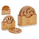 set of 4 round bamboo coasters, 3 times its