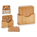set of 4 square bamboo coasters, 3 times s