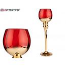 goldener und roter großer Glaskerzenhalter