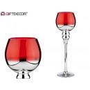 silberner und roter großer Glaskerzenhalter